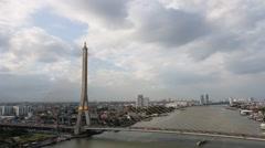 Bangkok Rama VIII bridge in Thailand Stock Footage