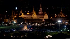 Bangkok, Thailand - Aug 12 : The Grand Palace and Wat Phra Kaew at night Stock Footage