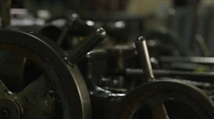 Machine Shop Threading Machine CU of Metal Wheels Stock Footage