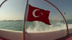 Turkish Flag on Motor Boat Waving in the Wind Stock Footage