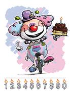 clown on unicle carrying a baby's birthday cake - stock illustration