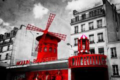 The moulin rouge vintage retro depiction in black and white with red elements Stock Photos