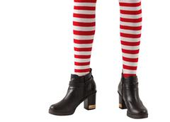 Lower half of girl wearing stripey socks and boots - stock photo