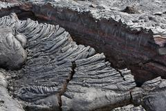 pahoehoe lava, detail view, east rift zone, kilauea volcano, big island, hawa - stock photo