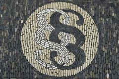 section sign, a stone mosaic in front of a law office, freiburg, baden-wuertt - stock photo