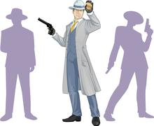 Stock Illustration of Caucasian police chief and people silhouettes