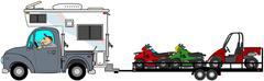 Truck with camper towing ATV's - stock illustration