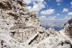 ivano dibona fixed rope route, here on monte cristallo mountain, on the way t - stock photo