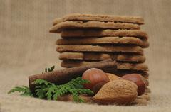 speculoos cookies with nuts, christmas motif - stock photo