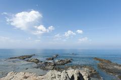 Rugged coastline, rugged limestone cliffs, triopetra, agios pavlos, crete, li Stock Photos