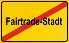 City limit sign, leaving fairtrade-stadt, german for a town with fairtrade Stock Photos