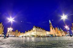 wroclaw, poland. historical market square and the town hall. silesia region. - stock photo