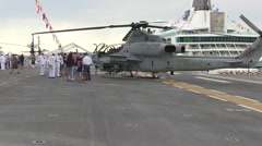 U.S. Marines and sailors take the public on a tour of the ship USS Essex - stock footage