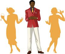 Afroamerican male party host with female guests - stock illustration