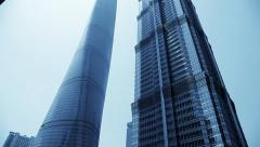 Shanghai Tower and Jin Mao Tower in Pudong District, China - stock footage