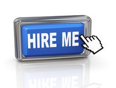 3d hand cursor button - hire me Stock Illustration
