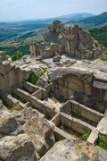 the ancient thracian city of perperikon. stone tombs - stock photo