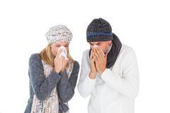 Sick couple in winter fashion sneezing Stock Photos