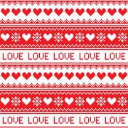 Nordic, winter love seamless red heart pattern Stock Illustration