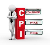 Stock Illustration of 3d businessman with cpi signpost illustration