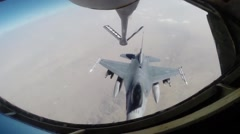 KC-135 Stratotanker Air Refueling an F-16 Fighting Falcon Stock Footage