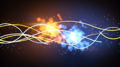 Blue and orange lines and particles abstract loopable background Stock Footage