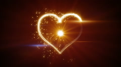Shiny heart shape yellow light streaks loopable Stock Footage