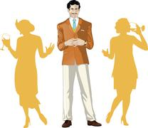 Caucasian male party host with female guests - stock illustration