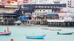 Boats in bay of Pattaya, Thailand Stock Footage
