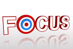 Stock Illustration of The word focus with target