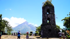 Mayon Volcano behind cagsawa tower Stock Footage