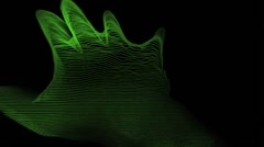 Hands Finger Scan Hologram Lines Tron Style Green Vj Loop Stock Footage