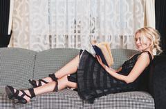Young woman read book Stock Photos