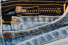 Blue jeans close up on a pocket and a zipper. high quality details Stock Photos