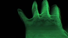 Hand Finger Scan Lines Hologram Tron Style Green Vj Loop Stock Footage