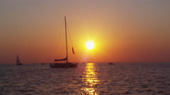 Sailboat Navigating in the Sea Stock Footage