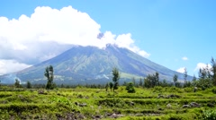Mayon Volcano behind rice fields Stock Footage