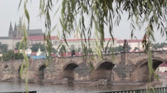 Charles Bridge through the branches Stock Footage