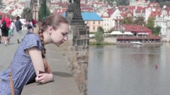 Young girl on the Charles Bridge Stock Footage