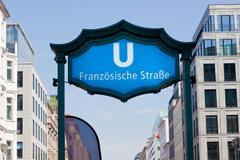 u-bahn franzosische strasse entrance. berlin mitte, germany - stock photo