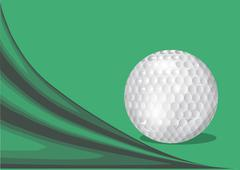 Green background with a golf ball Stock Illustration