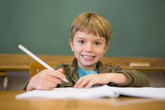 Happy pupil writing in notepad at desk Stock Photos