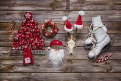 Christmas decoration in classic colors: red, white and wood in nostalgic coun Kuvituskuvat