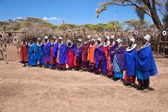 Maasai women in their village in tanzania, africa Stock Photos