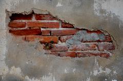 Cracked concrete vintage brick wall background Stock Photos