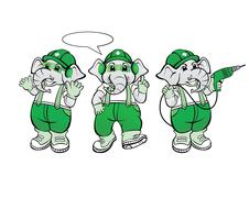Stock Illustration of Elephant Mechanic Mascot