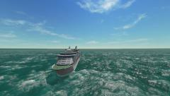 Luxury cruise ship in the ocean Stock Footage