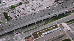 Top View on Cars Moving on a Highway in Downtown Toronto Stock Footage