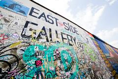 east side gallery - berlin wall. berlin, germany - stock photo