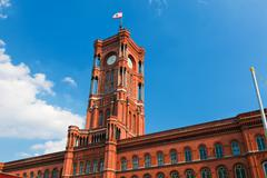 the red city hall, german rotes rathaus, the town hall of berlin, germany - stock photo